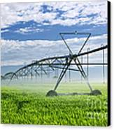 Irrigation Equipment On Farm Field Canvas Print by Elena Elisseeva