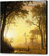 Light In The Forest Canvas Print by Albert Bierstadt