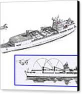 Merchant Marine Conceptual Drawing Canvas Print by Jack Pumphrey