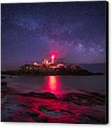 Milky Way Over Nubble Lighthouse Canvas Print by Adam Woodworth