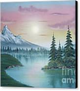 Mountain Lake Painting A La Bob Ross 1 Canvas Print by Bruno Santoro