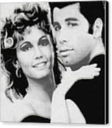 Olivia Newton John And John Travolta In Grease Collage Canvas Print by Tony Rubino