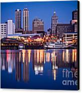 Peoria Illinois Skyline At Night Canvas Print by Paul Velgos