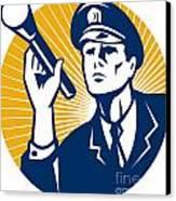 Policeman Security Guard With Flashlight Retro Canvas Print by Aloysius Patrimonio