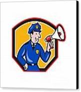 Policeman Shouting Bullhorn Shield Cartoon Canvas Print by Aloysius Patrimonio