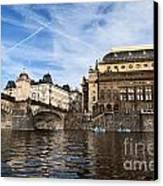 Prague From Vltava Canvas Print by Jelena Jovanovic