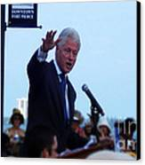 President Clinton In Fort Pierce Canvas Print by Megan Dirsa-DuBois