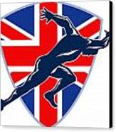 Runner Sprinter Start British Flag Shield Canvas Print by Aloysius Patrimonio