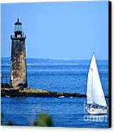 Sailing By Ram Island Light Canvas Print by Nancy Patterson