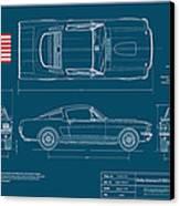 Shelby Mustang Gt350 Blueplanprint Canvas Print by Douglas Switzer