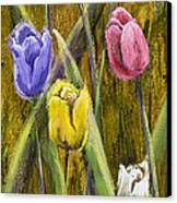 Splashy Tulips Canvas Print by Vic  Mastis