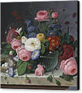 Still Life With Flowers And Birds Nest Canvas Print by Severin Roesen