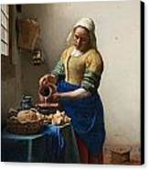 The Milkmaid Canvas Print by Johannes Vermeer