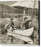 Trapping In The Adirondacks Canvas Print by Winslow Homer