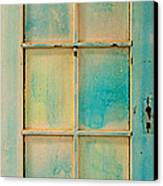 Turquoise And Pale Yellow Panel Door Canvas Print by Asha Carolyn Young
