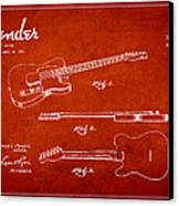 Vintage Fender Guitar Patent Drawing From 1951 Canvas Print by Aged Pixel
