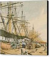 West India Docks From The South East Canvas Print by William Parrot