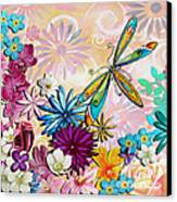 Whimsical Floral Flowers Dragonfly Art Colorful Uplifting Painting By Megan Duncanson Canvas Print by Megan Duncanson