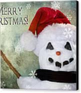 Winter Snowman Canvas Print by Cindy Singleton