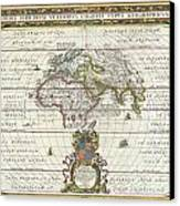 1650 Jansson Map Of The Ancient World Canvas Print by Paul Fearn