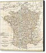 1799 Clement Cruttwell Map Of France In Departments Canvas Print by Paul Fearn
