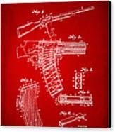 1937 Police Remington Model 8 Magazine Patent Artwork - Red Canvas Print by Nikki Marie Smith