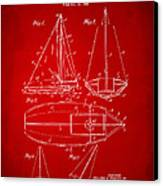 1948 Sailboat Patent Artwork - Red Canvas Print by Nikki Marie Smith
