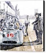 1955 Mercedes Benz W 196 Str Stirling Moss Italian Gp Monza Canvas Print by Yuriy  Shevchuk