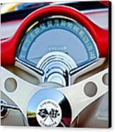 1957 Chevrolet Corvette Convertible Steering Wheel Canvas Print by Jill Reger