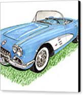 1959 Corvette Frost Blue Canvas Print by Jack Pumphrey