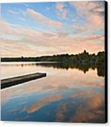 Beautiful Sunset Over Autumn Fall Lake With Crystal Clear Reflec Canvas Print by Matthew Gibson