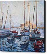Boats In Rhodes Greece  Canvas Print by Ylli Haruni