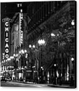 Chicago Theatre At Night Canvas Print by Christine Till