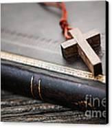 Cross On Bible Canvas Print by Elena Elisseeva
