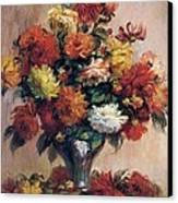 Dahlias Canvas Print by Pierre-Auguste Renoir