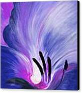 From The Heart Of A Flower Blue Canvas Print by Gina De Gorna