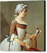Girl With Racket And Shuttlecock Canvas Print by Jean-Baptiste Simeon Chardin