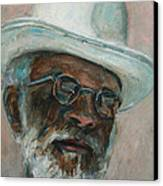 Gray Beard Under White Hat Canvas Print by Xueling Zou