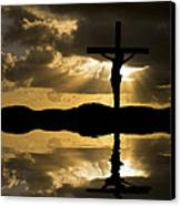 Jesus Christ Crucifixion On Good Friday Silhouette Reflected In  Canvas Print by Matthew Gibson