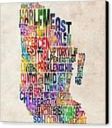 Manhattan New York Typographic Map Canvas Print by Michael Tompsett