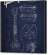 Mccarty Gibson Stringed Instrument Patent Drawing From 1969 - Navy Blue Canvas Print by Aged Pixel