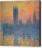 Monet's The Houses Of Parliament At Sunset Canvas Print by Cora Wandel