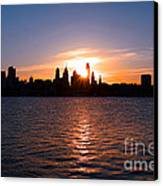 Philadelphia Sunset Canvas Print by Olivier Le Queinec