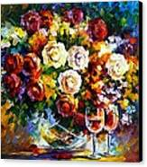 Roses And Wine Canvas Print by Leonid Afremov