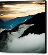 Sunset Himalayas Mountain Nepal Panaramic View Canvas Print by Raimond Klavins