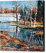 White Covered Bridge Canvas Print by Doug Heavlow