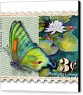 3 Cent Butterfly Stamp Canvas Print by Amy Kirkpatrick