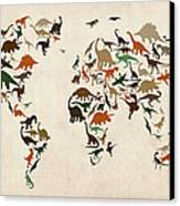 Dinosaur Map Of The World Map Canvas Print by Michael Tompsett