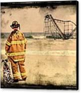 Hurricane Sandy Fireman Canvas Print by Jessica Cirz