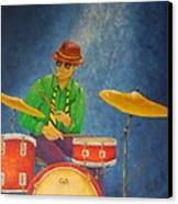 Jazz Drummer Canvas Print by Pamela Allegretto